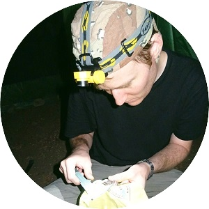 Andreas Rose at fieldwork with bat